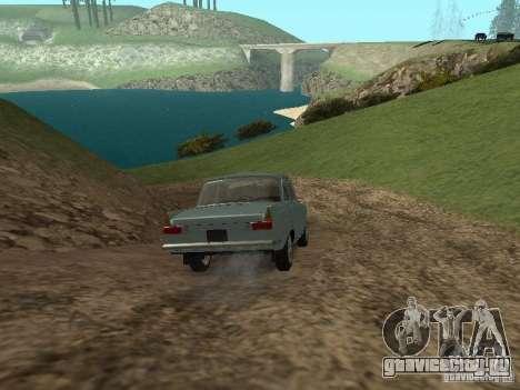 ИЖ 412 Москвич для GTA San Andreas вид изнутри