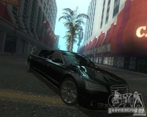 Audi A8 2011 Limo для GTA San Andreas вид сзади