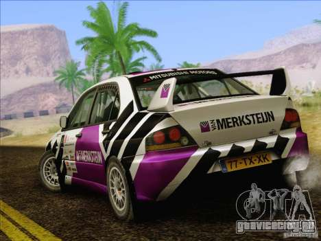 Mitsubishi Lancer Evolution IX Rally для GTA San Andreas вид снизу