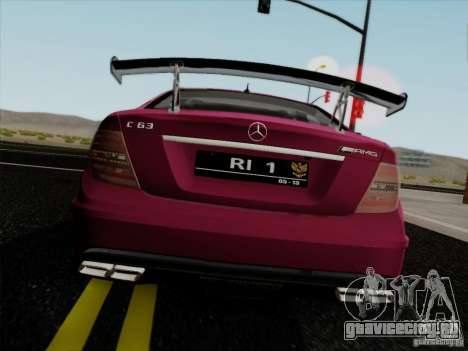 Mercedes Benz C63 AMG Coupe Presiden Indonesia для GTA San Andreas вид сзади слева