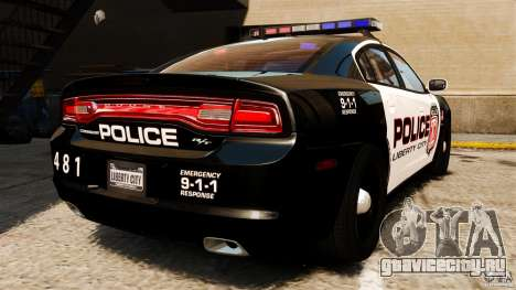 Dodge Charger RT Max Police 2011 [ELS] для GTA 4 вид сзади слева
