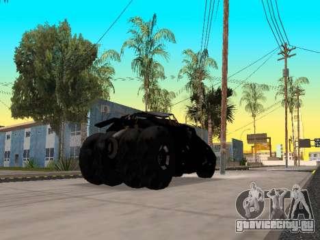 Tumbler Batmobile 2.0 для GTA San Andreas вид сзади слева