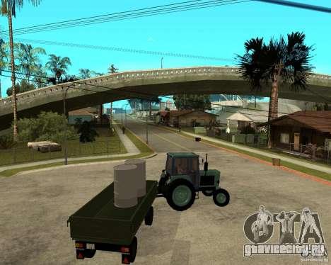 Трактор Беларусь 80.1 и прицеп для GTA San Andreas вид снизу