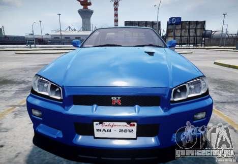 Nissan Skyline GT-R R34 Mspec для GTA 4 вид изнутри