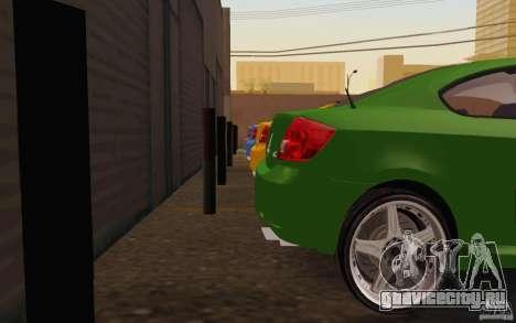 Scion tC для GTA San Andreas вид изнутри