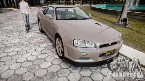 Nissan Skyline GT-R R34 2002 v1 для GTA 4 вид сзади