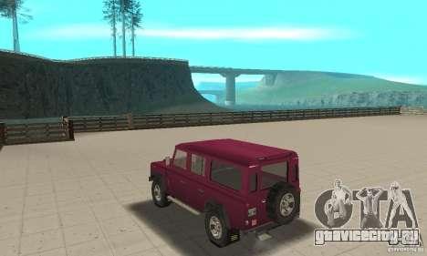 Land Rover Defender 110SW для GTA San Andreas вид сзади слева