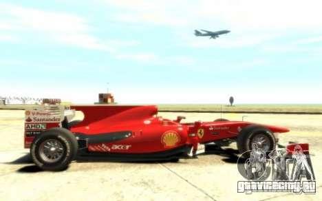 2010 Scuderia Ferrari F10 для GTA 4 вид сзади