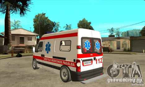 Renault Master Ambulance для GTA San Andreas вид сзади слева