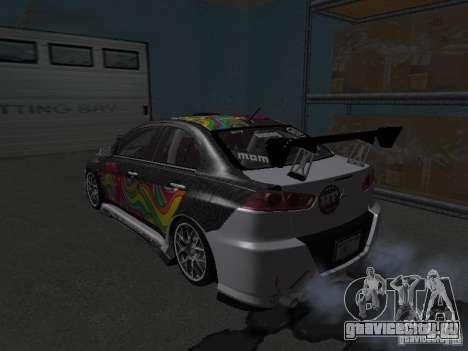 Mitsubishi Evolution X Stock-Tunable для GTA San Andreas вид сзади