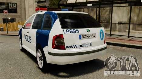 Skoda Fabia Combi Finnish Police ELS для GTA 4 вид сзади слева