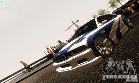 BMW M3 GTR для GTA San Andreas вид сзади