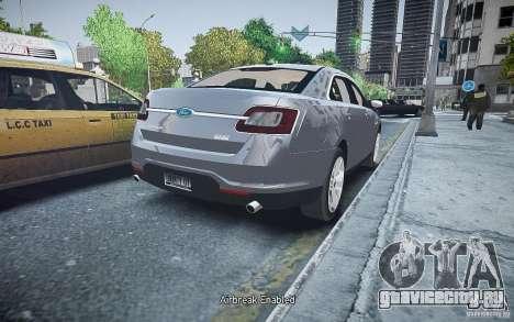 Ford Taurus SHO 2010 для GTA 4 вид сзади слева