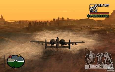 Thunderbold A-10 для GTA San Andreas вид сзади слева