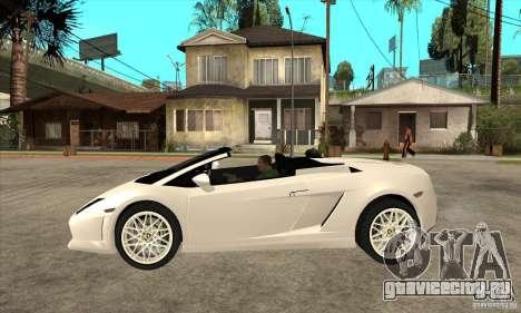 Lamborghini Gallardo Spyder v2 для GTA San Andreas вид слева