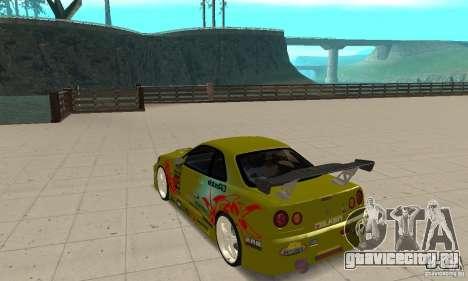 Nissan Skyline R34 GTR для GTA San Andreas вид сзади слева