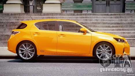 Lexus CT200h 2011 для GTA 4 вид изнутри