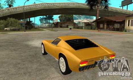 Lamborghini Miura 1966 для GTA San Andreas вид сзади слева