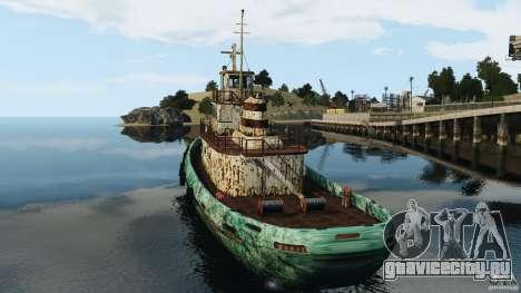 Realistic Rusty Tugboat для GTA 4 вид сзади слева