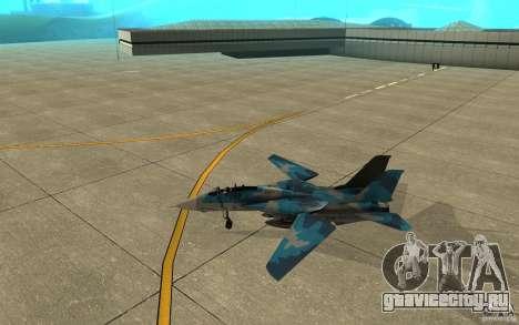 F-14 Tomcat Blue Camo Skin для GTA San Andreas вид сзади слева