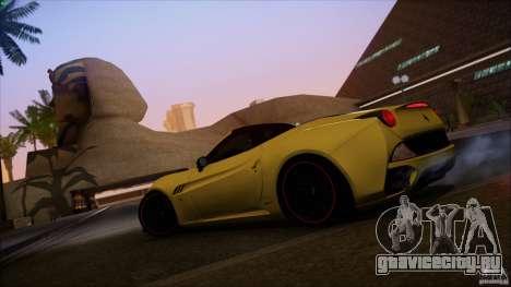 Ferrari California для GTA San Andreas вид изнутри