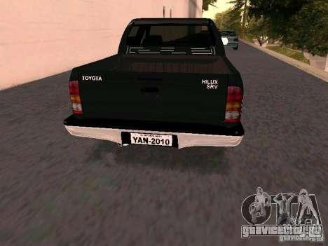 Toyota Hilux SRV 3.0 4X4 Automatica для GTA San Andreas вид сзади слева