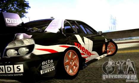 Subaru Impreza WRC 2007 для GTA San Andreas вид сзади