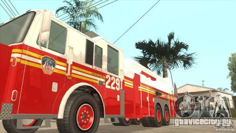 FDNY Seagrave Marauder II Tower Ladder для GTA San Andreas вид сзади слева
