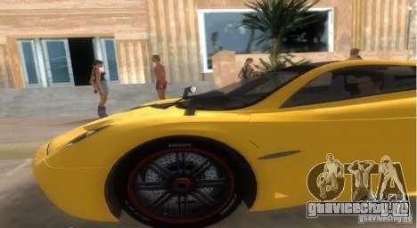 Pagani Huayra для GTA Vice City вид сзади слева