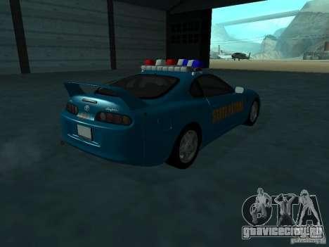 Toyota Supra California State Patrol для GTA San Andreas вид справа