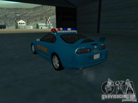 Toyota Supra California State Patrol для GTA San Andreas вид сзади слева