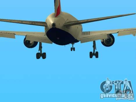 Boeing 767-300 British Airways для GTA San Andreas вид снизу