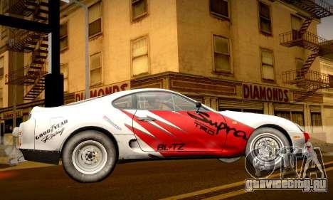 Toyota Supra JZA80 RZ Dragster для GTA San Andreas вид сбоку