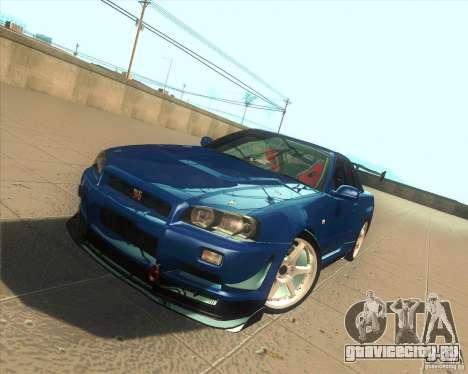 Nissan Skyline GT-R R34 M-Spec Nur для GTA San Andreas вид сверху
