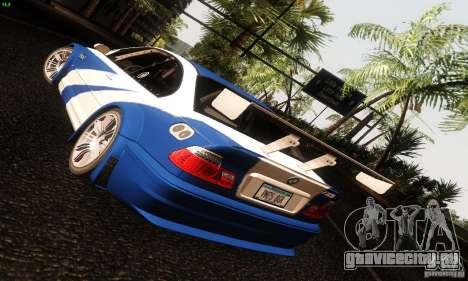 BMW M3 GTR v2.0 для GTA San Andreas вид сзади