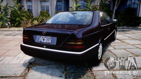 Mercedes-Benz 600SEC C140 1992 v1.0 для GTA 4 вид сзади слева