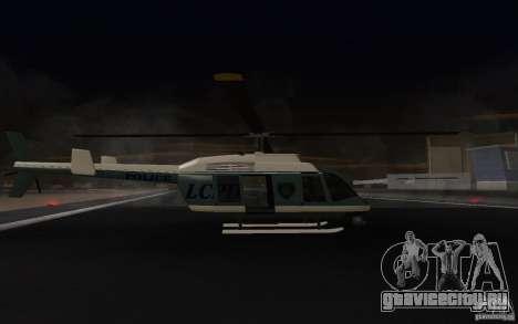 GTA IV Police Maverick для GTA San Andreas вид сзади слева
