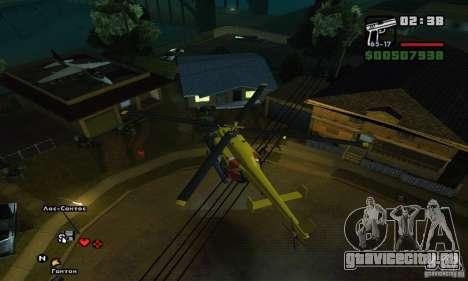 Helitours Maverick из GTA 4 для GTA San Andreas вид изнутри