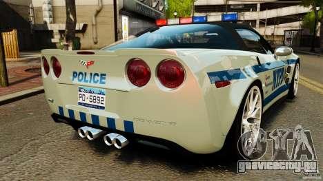 Chevrolet Corvette ZR1 Police для GTA 4 вид сзади слева