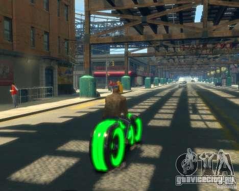 Мотоцикл из Трон (зеленый неон) для GTA 4 вид сзади слева