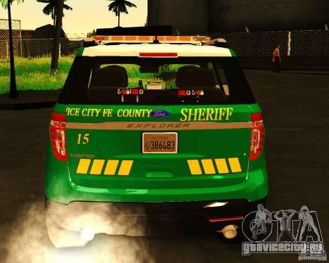 Ford Explorer 2011 VCPD Police для GTA San Andreas вид сзади слева