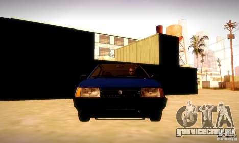 ВАЗ 2108 v2.0 для GTA San Andreas вид изнутри