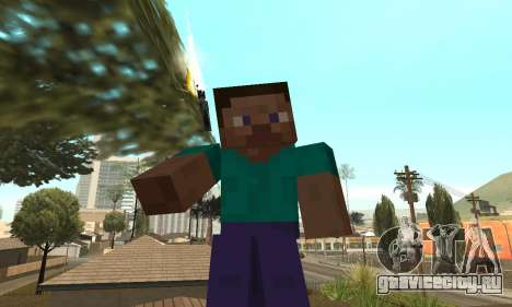 Скин Стива из игры Minecraft для GTA San Andreas третий скриншот