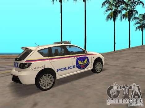 Mazda 3 Police для GTA San Andreas вид сзади слева