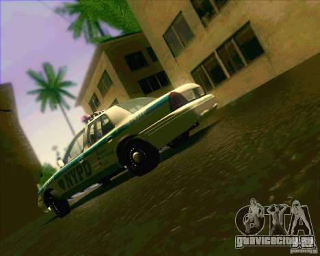 Ford Crown Victoria 2003 NYPD police V2.0 для GTA San Andreas вид изнутри