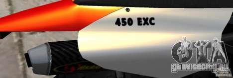 KTM EXC 450 для GTA 4 вид изнутри