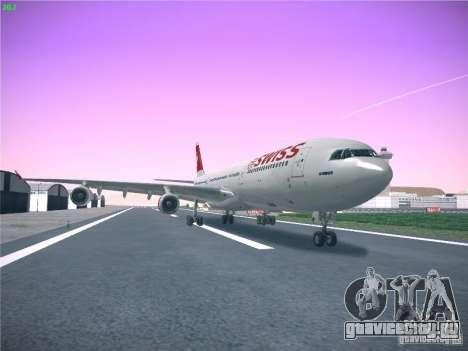 Airbus A340-300 Swiss International Airlines для GTA San Andreas вид сзади слева