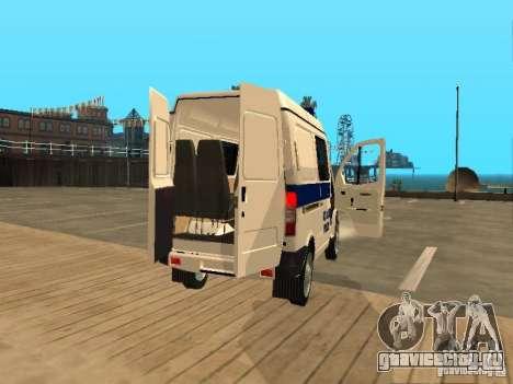 ГАЗ 2217 соболь МИЛИЦИЯ для GTA San Andreas вид сзади