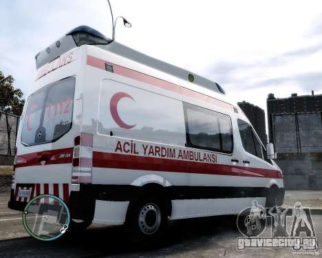 Mercedes Sprinter Turkish Ambulance для GTA 4 вид сзади слева
