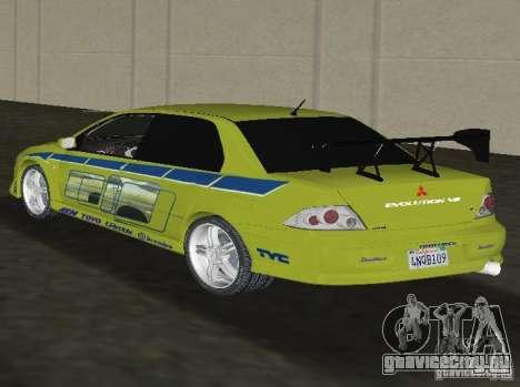 Mitsubishi Lancer Evolution VII для GTA Vice City вид слева